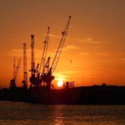 havenkranen in de haven van rotterdam bij zonsopkomst