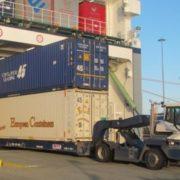 dubbel stack container rijdt uiteen roro schip